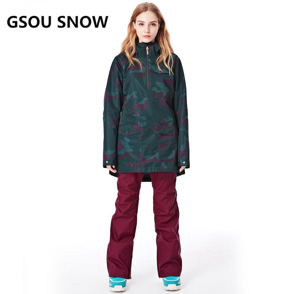 76be2b4ba0 2019 GSOU SNOW New Ski Jacket Women Anti Pilling Snowboard Coats Waterproof  Fashion Windproof Female Ski Jackets Breathable Cotton From Beachsandy