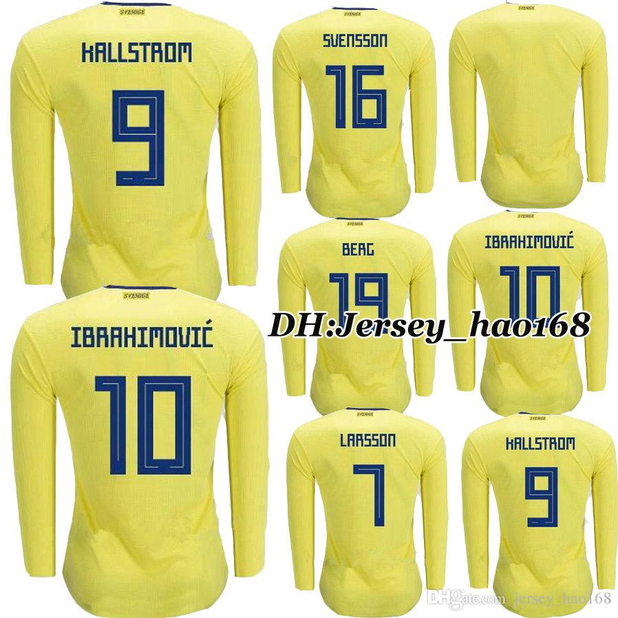 0a1027e3f Top Thai Quality 2018 Sweden Long Sleeves IBRAHIMOVIC KALLSTROM ...