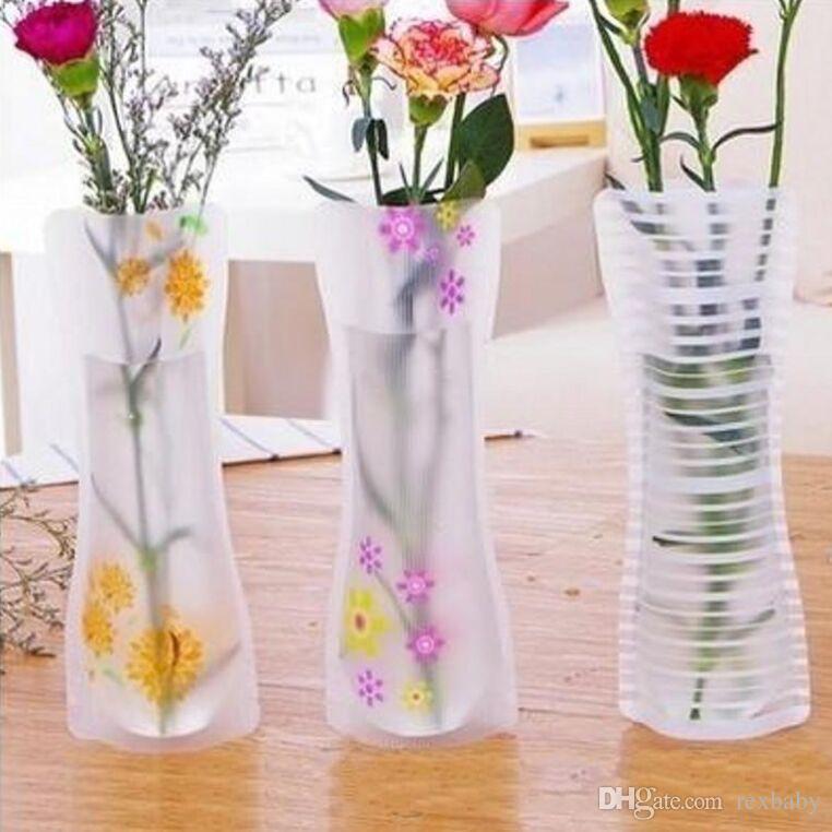 DHgate.com & Unbreakable Foldable Reusable Plastic Flower Vase Creative Folding Magic PVC Vase 11.7cm*27cm Mix Color Home Decor