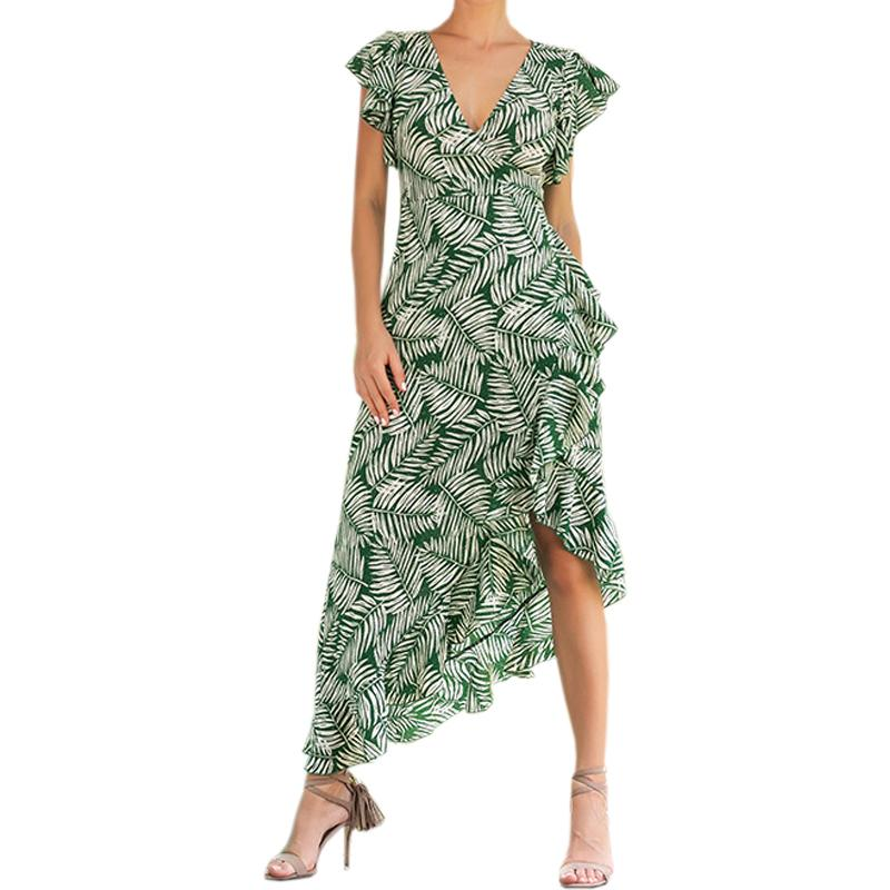 5aadd61f46792 Women Beach Boho Floral Printed Sundress Female Butterfly Sleeve Midi  Dresses Girl Plus Size Summer Print Ruffles Dresses GV097