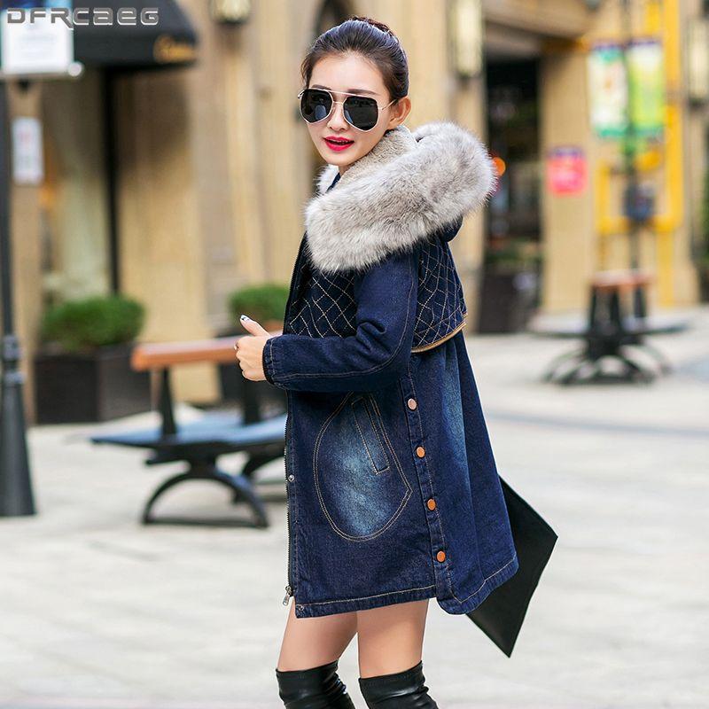 9352f6fe44e Plus Thicken Velvet Winter Coat Women Streetwear Long Denim Jacket Femme  Big Fur Collar Patchwork Hoodies Vintage Jeans Overcoat Blue Jacket Womens  Leather ...
