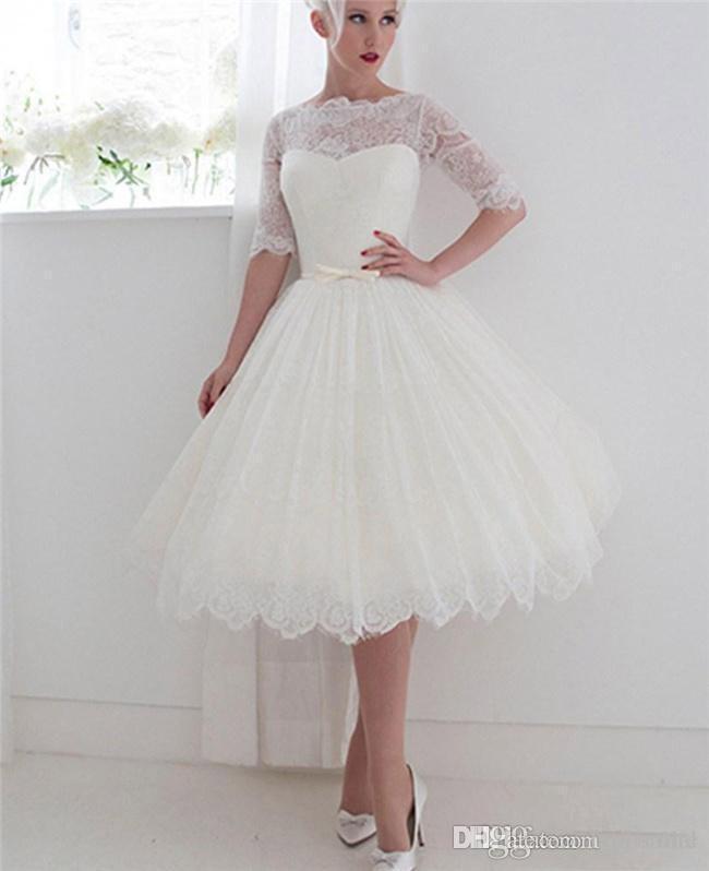 Discount Half Sleeve Short Wedding Dresses Bateau Lace Ribbon Cover ...