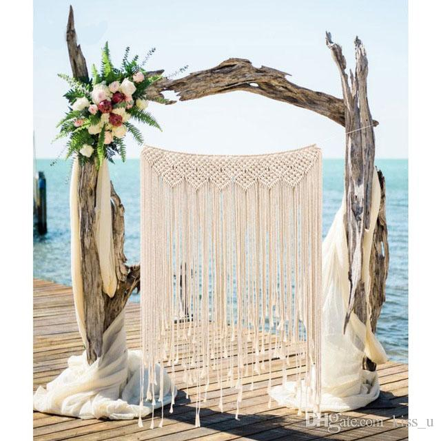 2018 Wedding Backdrop Curtain Wall Hanging Boho Wedding Hanger Cotton Handmade Wall Art Home Wall Decor
