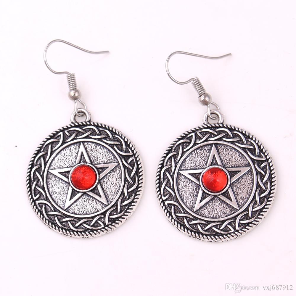 New Styles Knot PENTACLE Pendant Solid Background Pentagram Rhinestone Choice Jewelry Charm Earring