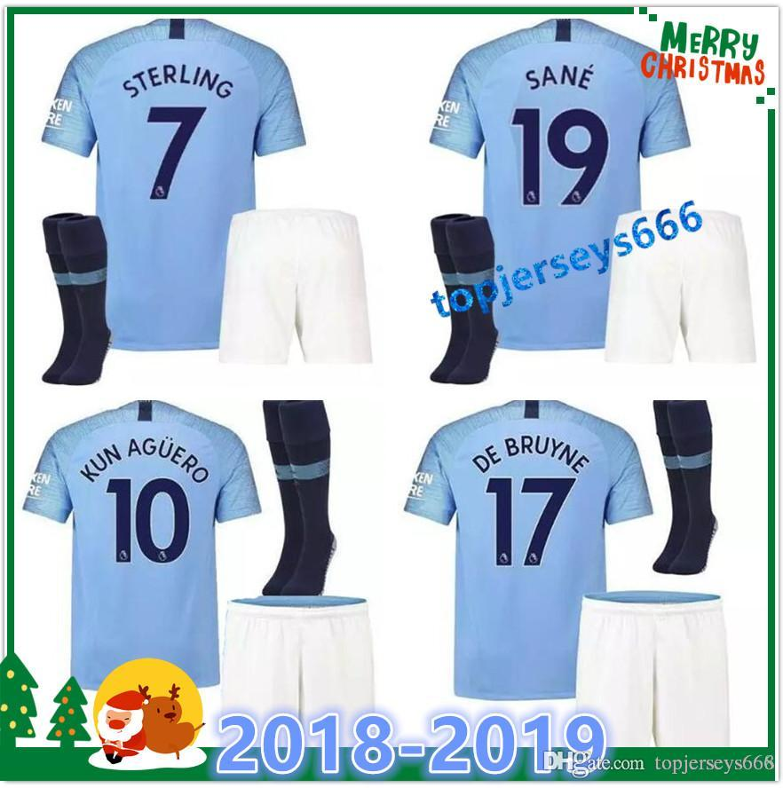 11fd80cb0 2019 DE BRUYNE KUN AGUERO Soccer Kit Adult 2018 19 STERLING SANE ...