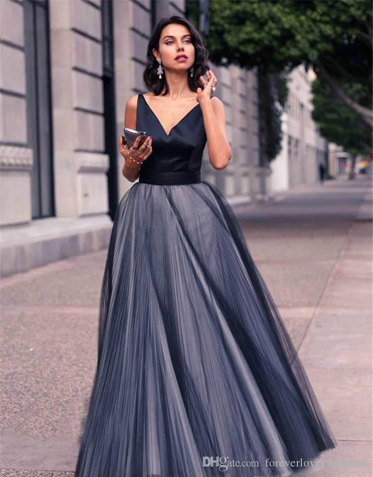 A-Line V Neck Evening Dress Long Tulle Backless Formal Holiday Wear Floor Length Satin Tulle Navy Blue Prom Party Gown Custom Made Plus Size