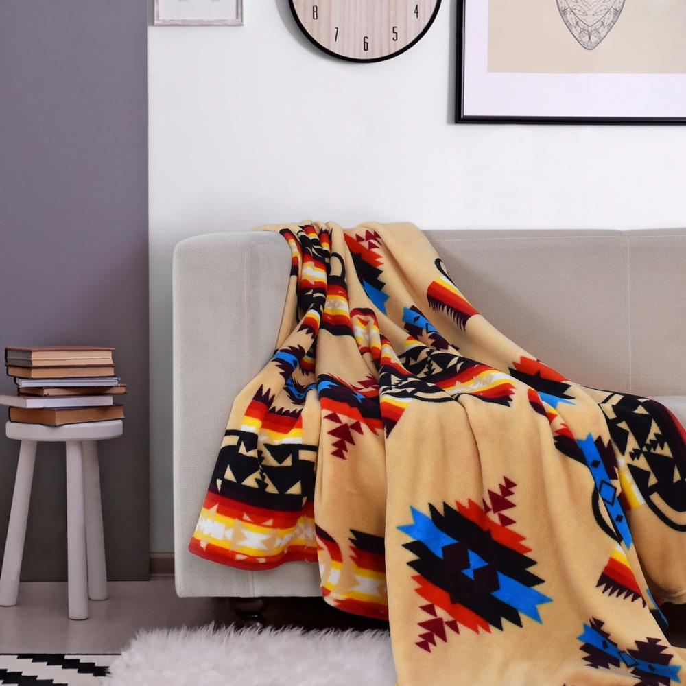 Großhandel Bbj Coral Fleece Stoff Decke Gelb Braun Bett Sofa Stuhl