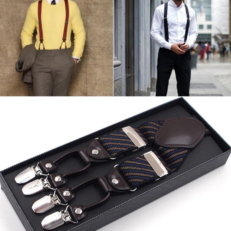 Apparel Accessories Men Stripe Y-shape Suspender With Non-slip 6 Clips Elastic Adjustable Pant Braces