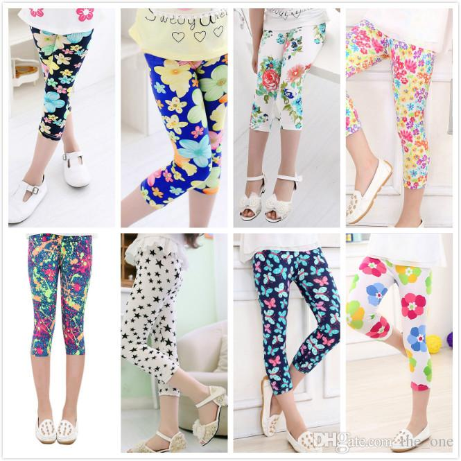 b94ebf840 2019 16 Styles 3 4 Length Girls Leggings Summer Cool Floral Print ...