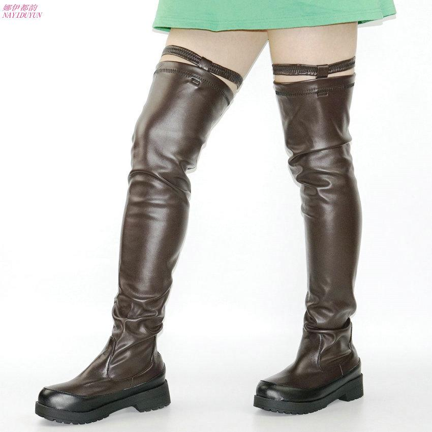 67dcf834d7b6 NAYIDUYUN Hot Thigh High Boots Women Black Coffee Over The Knee Sneakers  Med Heel Tall Shaft Punk Greepers Riding Party Oxfords Ski Boots Boots No 7  From ...