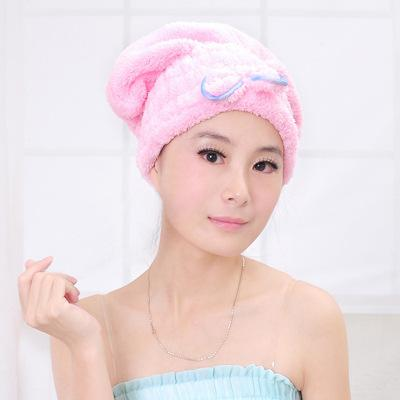 Super strong water absorption dry hair hat quick drying towel shower cap lovely bow tie thickened headcloth