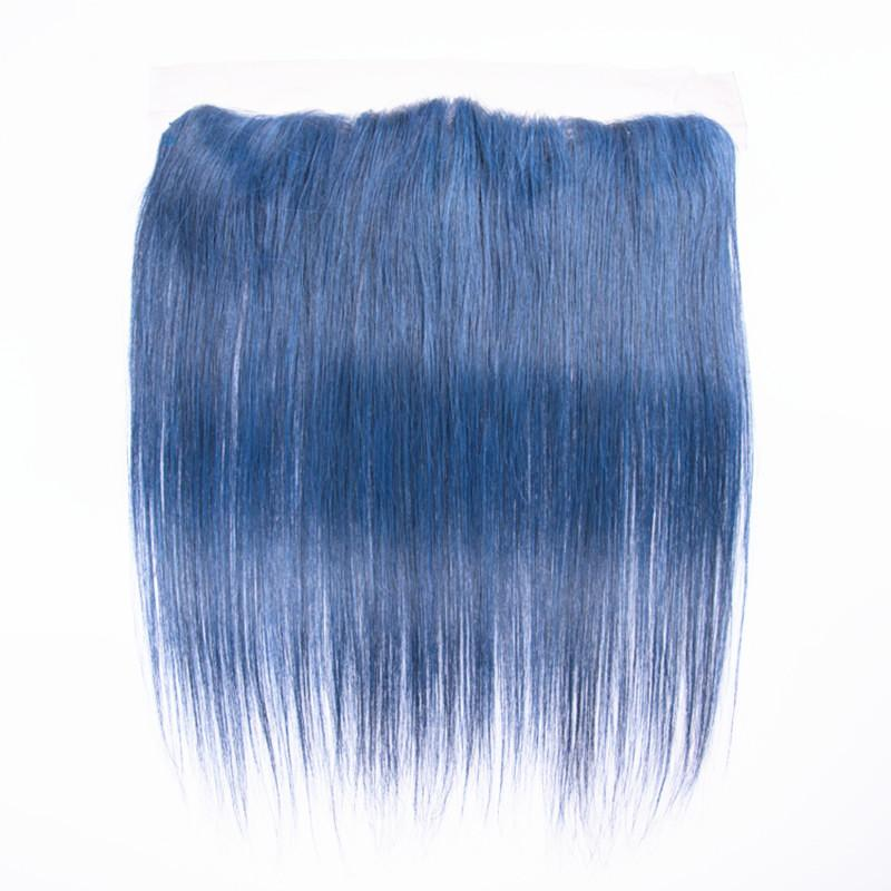 Silky Straight human Hair Weft With Lace Frontal Pure Blue Color Hair Bundles Extensions With Ear To Ear Lace Frontal