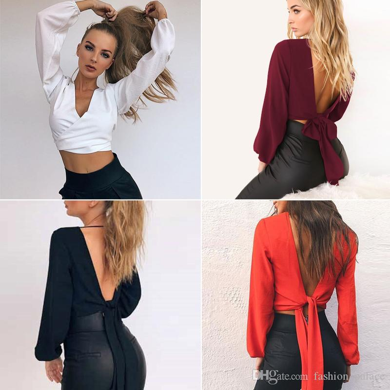 25e09ea6e52363 2019 Women S V Neck Long Sleeve Backless Crop Top Blouse Sexy Tie Back  Chiffon Crop Wrap Blouses Casual Shirt DZH0514 From Fashion palace