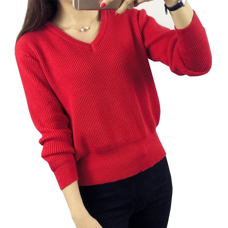 37f96fa1994 Women Sweaters 2017 New Winter Fashion V-Neck Long Sleeve Pullovers Thick  Cashmere Solid Knitted Sweaters Warm Female Knitwear