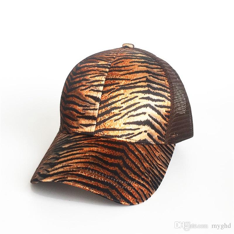 f2aedd5f 2018 Leopard Print Summer Ponytail Baseball Cap Mesh Hats For Women ...