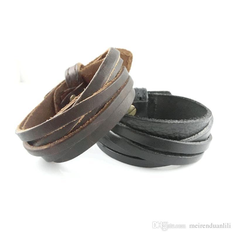 Leather Bracelet Wristband Mens Bracelet for Men Fashion Unisex Jewelry pulseras Adjustable Leather Bracelets Punk Style