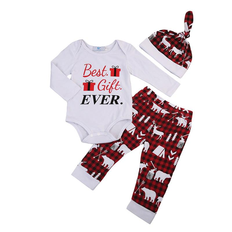 81be4685ca62 2019 Brand New Christmas Set Newborn Infant Baby Boy Girl Best Gift Ever  Romper Pants Elk Print Beanie Hat Outfits Clothes USA From Windowplant, ...