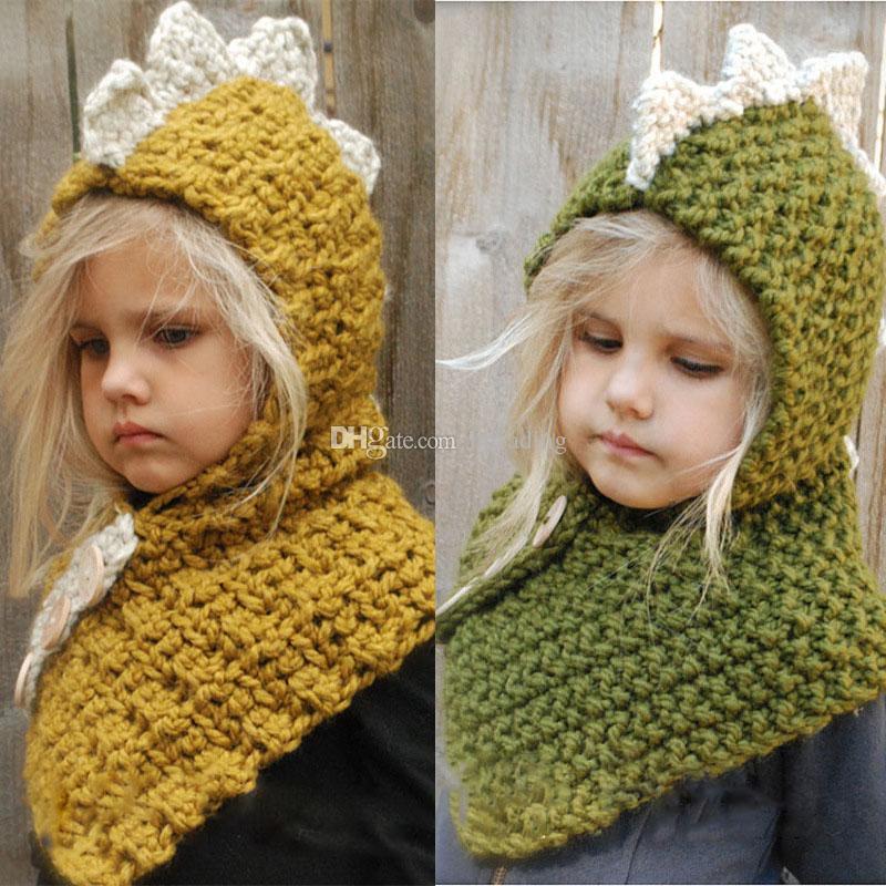 d1f9abb99 Baby Girls boys dinosaur knitting Caps cartoon 2018 winter cartoon Wool cap  INS children Knitted 2 in 1 scarf hat C5154