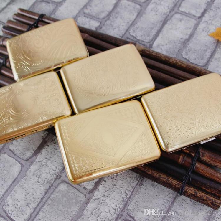 Goldene Vintage Muster Männlich Reinem Kupfer 16 Regelmäßige Zigarettenetui Boxen Rauch Box Laser Geschnitzte Cigaratte Aufbewahrungsbox Rauchen Zubehör