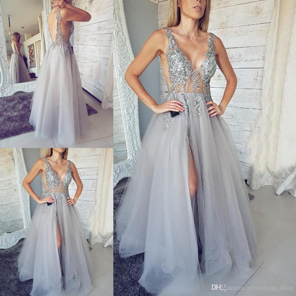 4569e329bcd 2019 New Deep V Neck Long Prom Dresses Silver Sequin Beaded Tulle Middle  East Appliques Beaded Side Split Robe De Bal Evening Dresses Long Dress  Online Long ...