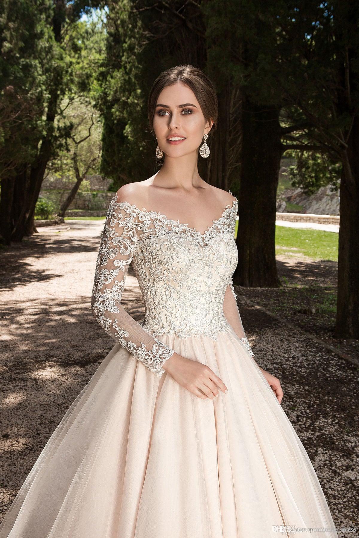 Старинные кружева с длинными рукавами плюс размер свадебных платьев свадебное платье с пуговицей на спине плюс размер свадебного платья в стиле графства