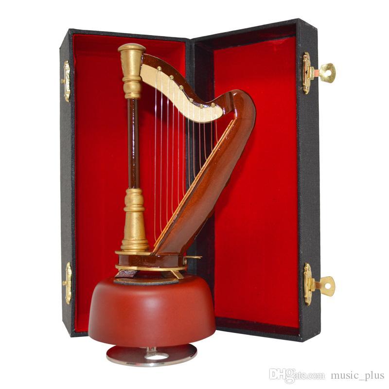 Arpa di legno fatta a mano calda che gira il carillon di modello di legno di arpa di arte di scatola musicale arti mini