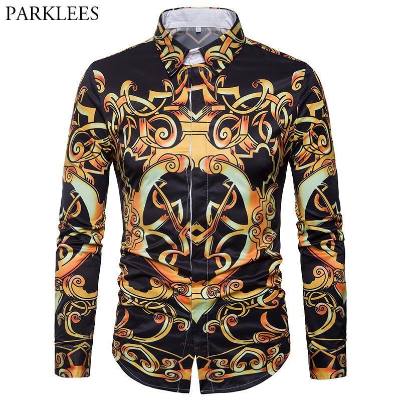 Compre Diseño De Lujo Para Hombre De Oro Con Estampado Floral Camisa Con  Botones Informal 2018 Moda De Manga Larga Con Cuello En Pico Camisas De  Hombre ... 2e7c2d7f04a86