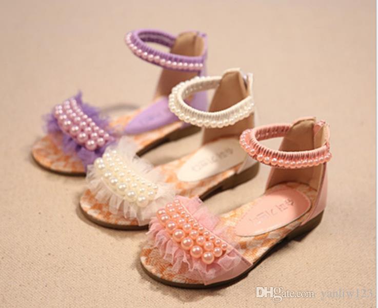 Perle Cristal Princesse Chaussures Qualité Filles Douce Haute Perlant Fleur Cuir Slip En Sandales Doux Fille Enfants On eED2IHYWb9