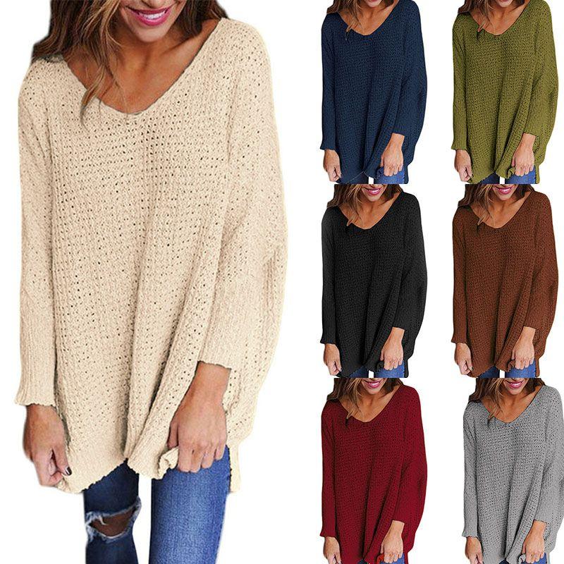 39ac28621d New Women Sweaters Autumn Winter Fashion Sexy V-neck Sweater Dress ...