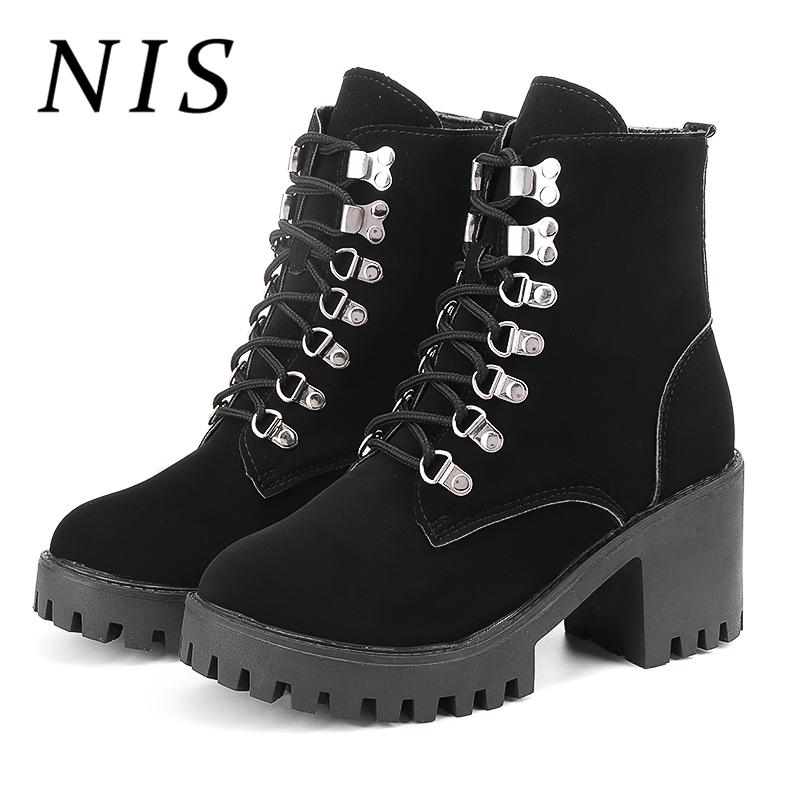 a51bcb377d6e NIS Sexy Black Winter Boots Women Shoes Woman High Block Heels Ankle Boots  Lace Up Casual Shoes PU Leather Booties Botas Mujer Skechers Boots Mid Calf  Boots ...
