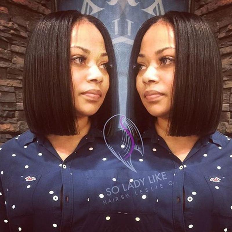 Short Bob Lace Front Wigs For Black Women Unprocessed Virgin Brazilian Human Hair Bob Wigs Middle Part Glueless Full Lace Wigs 130% Density