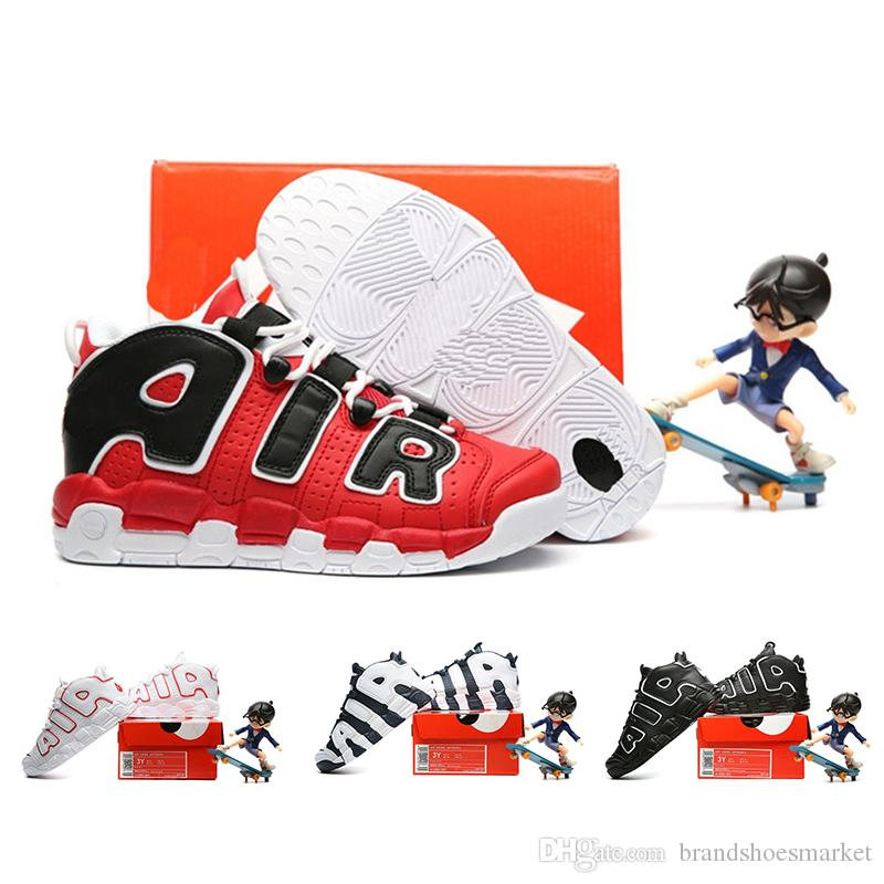 best cheap 8ab55 4253e Air More Uptempo Pippen Kids Basketball Shoes Black Red White Children  Olympic Dream Team Athletic Sports Sneakers Size 28 35 Womens Running Shoes  Sport ...