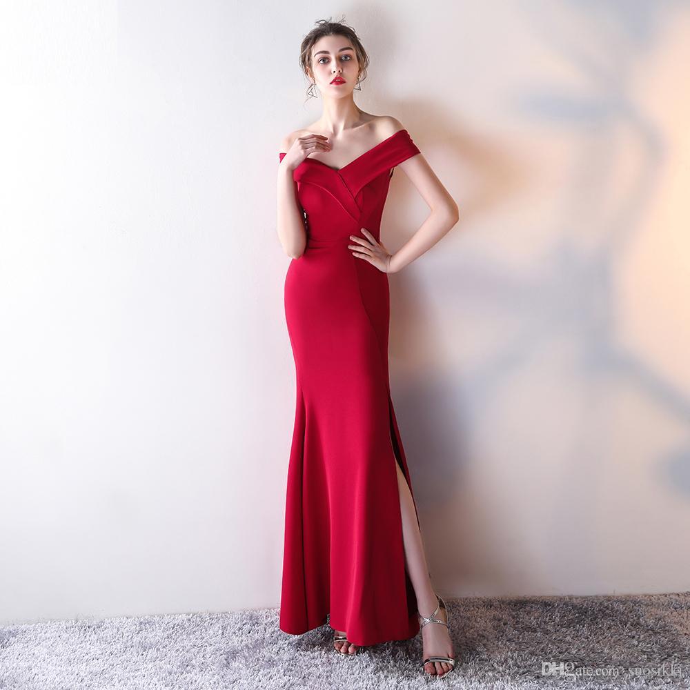 9519e69ad Compre V Cuello Vestidos De Noche De Raso Formal Azul Real Vestido De Fiesta  Sirena Moda Simple Venta Caliente 2017 Nuevo Por Encargo A  75.38 Del  Suosikki ...