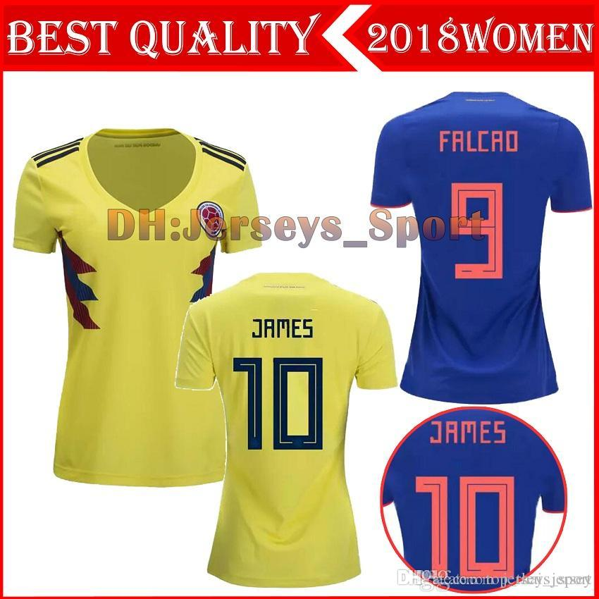 2019 World Cup 2018 Colombia Home Away Women Soccer Jerseys James Falcao  Futbol Camisa Camisetas Shirt Kit Maillot From Top thai jersey 5a17a782d