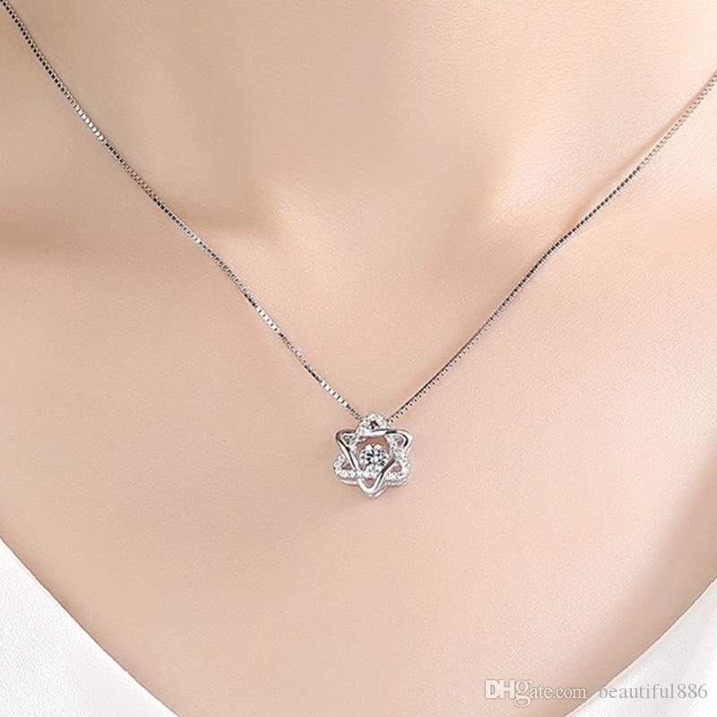 2018 S925 Silver Classic Rotate Dancing CZ Stone Silver Hexagram Pendant Necklace For Women Girl Fashion Jewelry Gift For Love