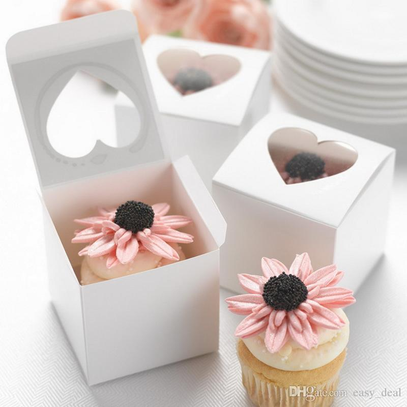 Clear Heart PVC Window Paper Single Cupcake Cake Box Wedding Favor Gift Boxes For Candy 6*6*6cm QW7497