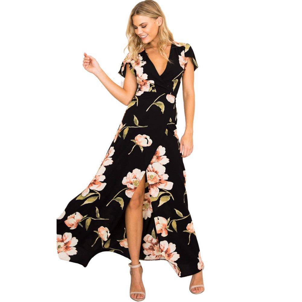 83565a3aa Long FPuseky Loral Maxi Dress Boho Long Dresses Elegant Beach Black Floral  Print Short Sleeve V Neck A Line Summer Dress Cocktail Dresses Long Buy  Party ...