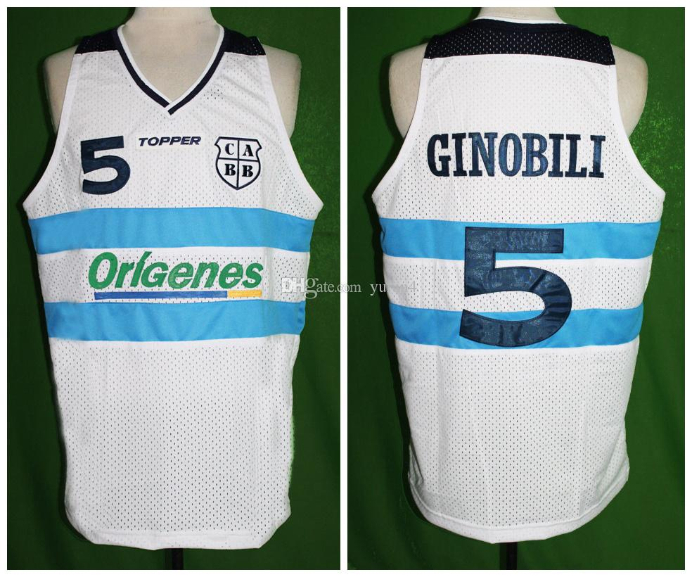 online store 32418 4aa26 #5 Manu Ginobili Team Argentina White Retro Classic Basketball Jersey Mens  Stitched Custom Number and name Jerseys