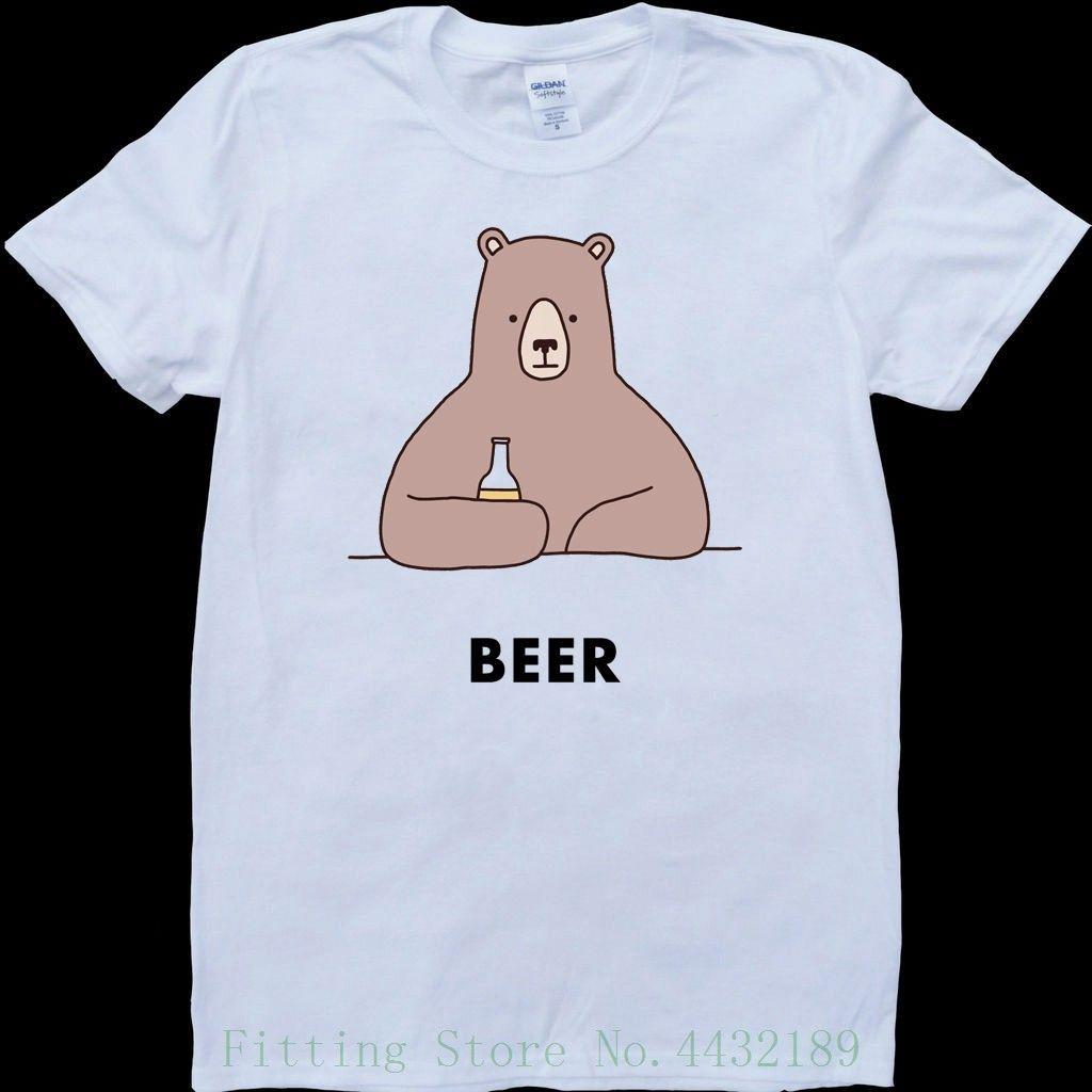 Beer Bear White Custom Made Mens T Shirt Printed Men T Shirt