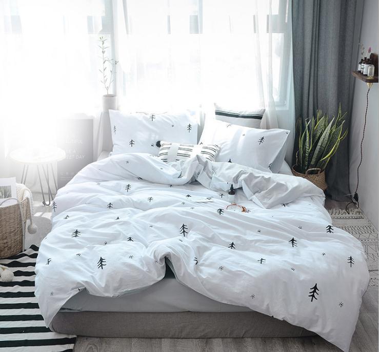 Acheter Blanc Noir Coton Maison Textile Ensemble De Literie Double