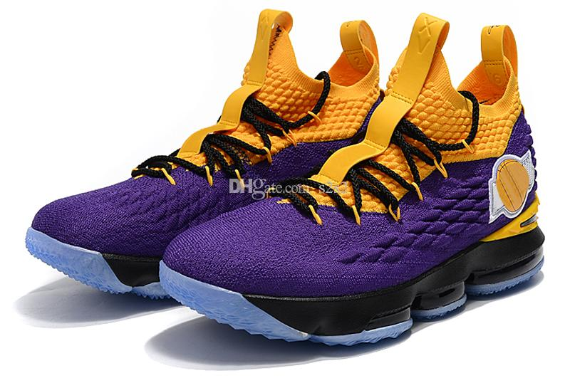 74d8e423912 ... hot 2018 new lebron 15 xv ep los angeles home yellow purple orange  basketball shoes athletic