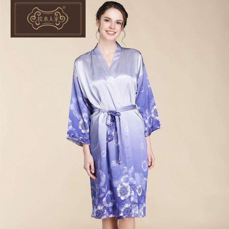 b8edeec798fe 2019 Women S Sleep Lounge Robe Sets Sky Blue Floral Silk Dress Two Piece  Sleepwear Nightdress Lingerie Sexy Women Pajamas Loose Belt From Tutucloth