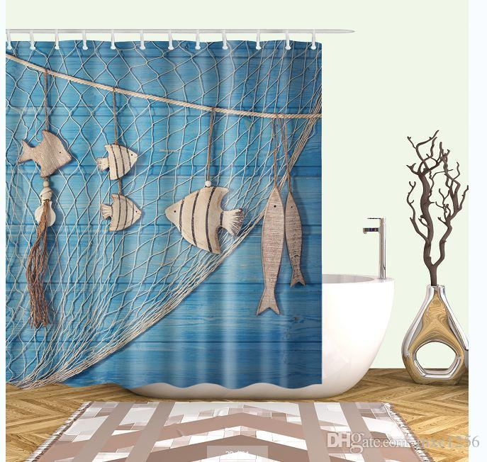 2019 Fishing Nets Fish Watercolor Bathroom Cartoon Shower CurtainsFabric CurtainThin Curtain12 Hooks12 RingsWaterproof180cm 7171 From Mxc1256