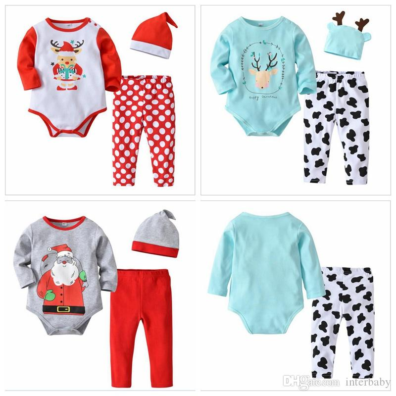 c1b87cb24cf Ins Baby Christmas Clothing Sets Elk Santa Claus Printed Romper   Pant    Hat Santa Design Romper Print Pant Santa Hat Christmas SetS LM58 UK 2019  From ...