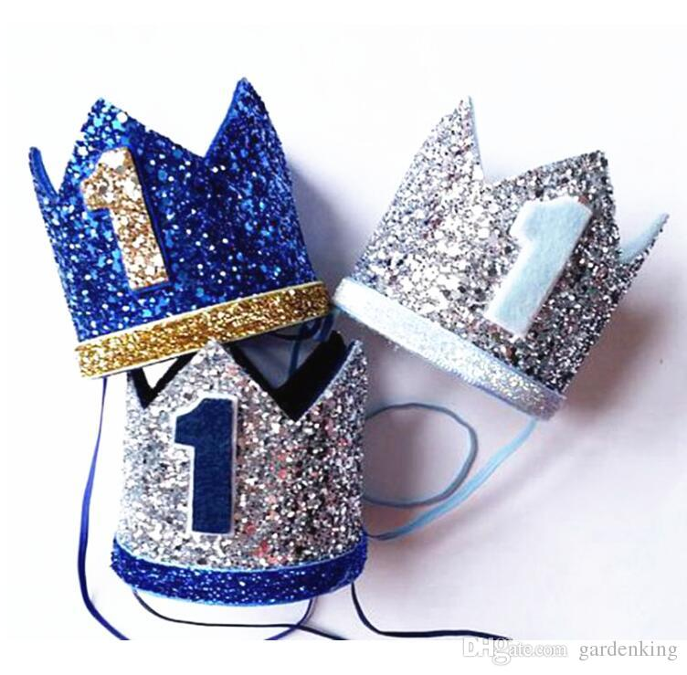 Boy Blue Silver First Birthday Hat Girl Gold Pink Priness Crown Number 1st 2 3 Year Old Party Glitter Headband Foil Hats Football