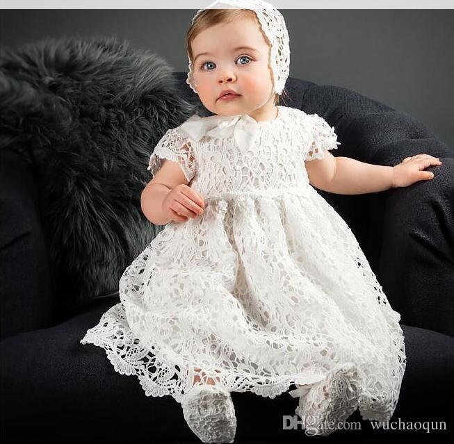 9a080e42174c Acheter 2018 Bébé Fille Baptême Robe De Baptême Robe Filles Robes En  Dentelle Bébé Robes De Princesse Nouveau Né Chapeau De Mariage + Robe +  Chaussures ...