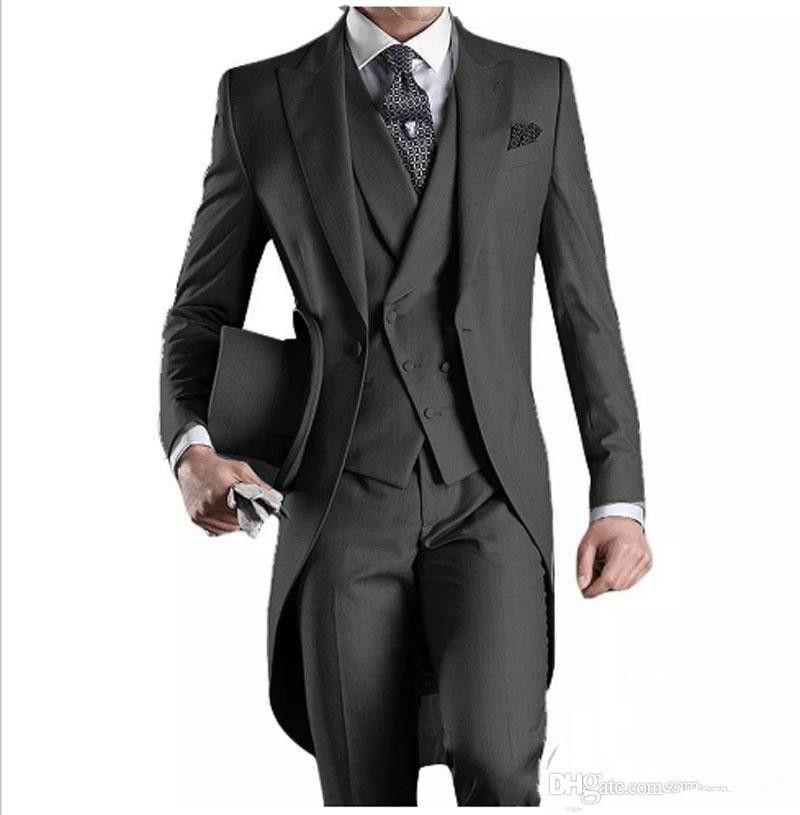 f9fabf2b1a1a Acquista 2018 Waishidress Cappotto Pant Design Immagini Nero   Grigio  Chiaro   Borgogna   Blu Fraciglia Set Groomsmen Abiti Da Sposa Smoking  Giacca + Vest + ...
