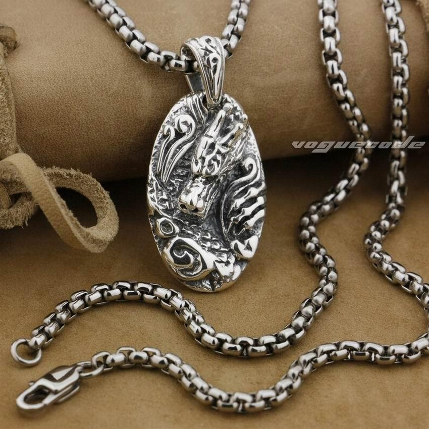 LINSION 925 Sterling Silver Dragon Tag Mens Biker Punk Pendant 9E013 Stainless Steel Necklace 24 inches