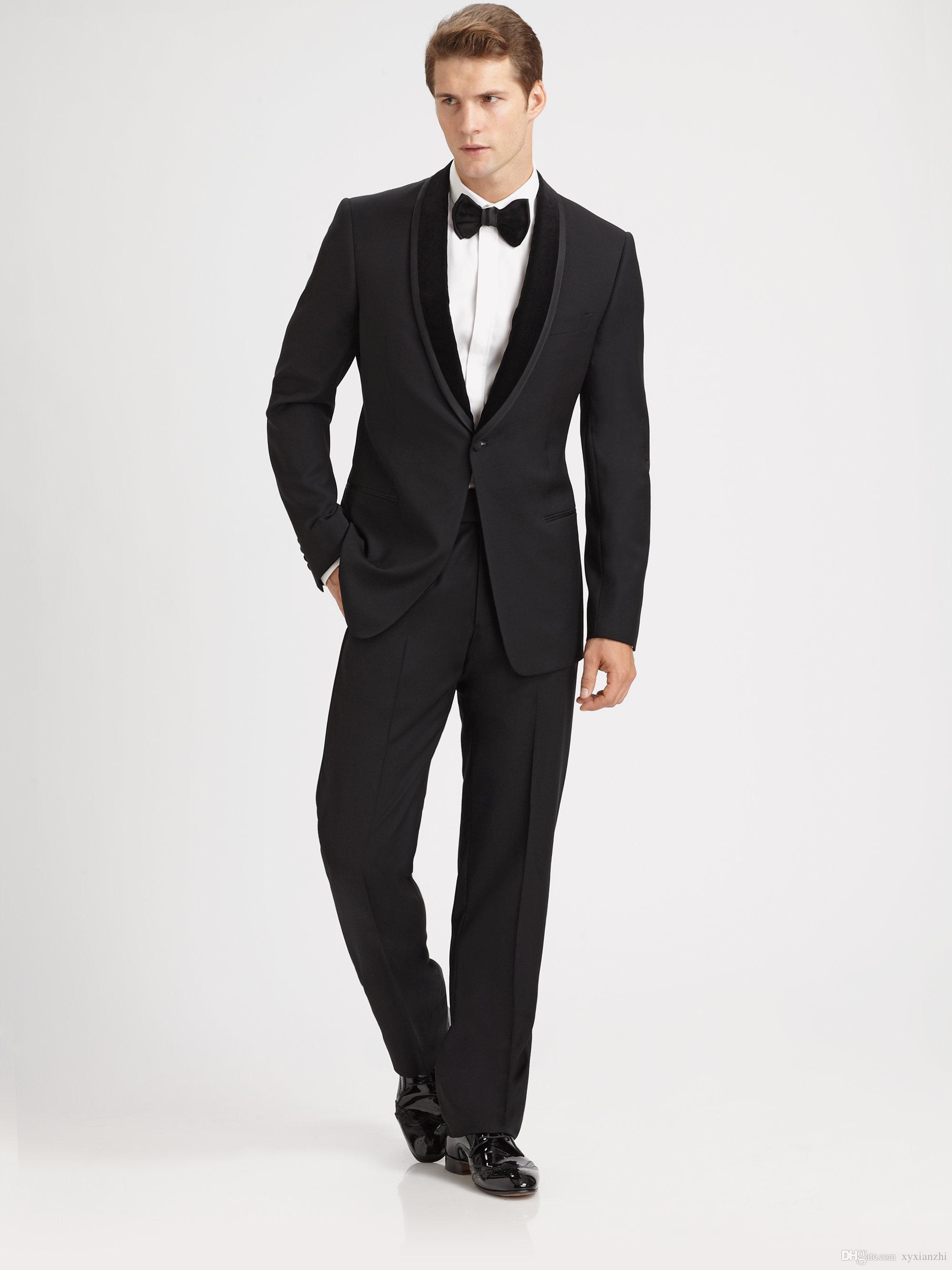 dress wedding tuxedo for groom wear slim fit custom made 2020 suit black two piece suits jacket