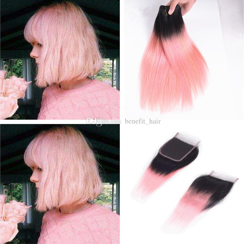 Ombre Color 1b Pink Hair Weft Extension With Lace Closure 4x4 Silky